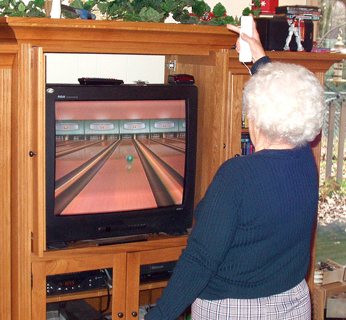 grandma playing video games